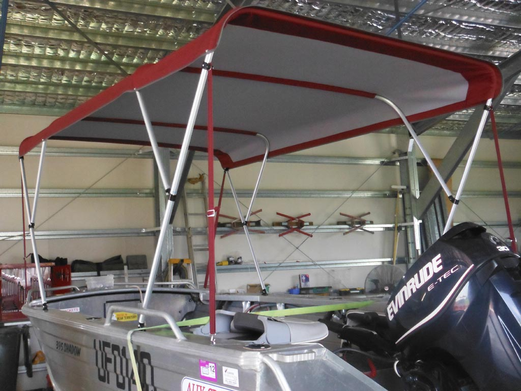 Boat Canopy - Red & Marine Trimming - Goondi Shades and Blinds